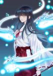 1girl bangs black_hair blunt_bangs bow_(weapon) brown_eyes closed_mouth commentary_request hakama highres hitodama holding holding_bow_(weapon) holding_weapon inuyasha japanese_clothes kikyou_(inuyasha) kimono leoheart long_hair long_sleeves looking_to_the_side miko red_hakama ribbon-trimmed_sleeves ribbon_trim shinidamachuu smile solo standing straight_hair weapon white_kimono wide_sleeves youkai