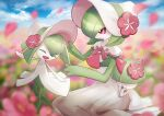 :o blurry bonnet closed_eyes closed_mouth clouds day evolutionary_line field flower flower_field gardevoir gen_3_pokemon hair_flower hair_ornament hands_up hat kirlia open_mouth outdoors petals pink_flower pokemon pokemon_(creature) pokemon_unite ralts sitting sky smile standing tongue violet_eyes yukichi_(tsuknak1) |d