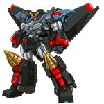 armor blue_armor clenched_hands commentary_request drill faceplate full_body gaofighgar glowing glowing_hand highres ledjoker07 mecha no_humans red_eyes solo standing super_robot v-fin wings yuusha_ou_gaogaigar yuusha_ou_gaogaigar_final yuusha_series