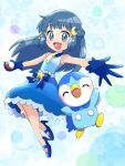 1girl :d absurdres bangs bead_belt blue_eyes blue_footwear blue_gloves blush commentary_request crescent crescent_hair_ornament dawn_(pokemon) eyebrows_visible_through_hair eyelashes floating_hair gen_4_pokemon gloves hair_ornament high_heels highres holding holding_poke_ball long_hair looking_at_viewer open_mouth piplup poke_ball poke_ball_(basic) pokemon pokemon_(anime) pokemon_(creature) pokemon_swsh_(anime) saki_pokeoekaki shiny shiny_hair sleeveless smile spread_fingers starter_pokemon twitter_username