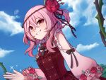 1girl bangs blue_sky bow bowtie clothing_cutout clouds commentary day dress english_commentary flower frills hair_between_eyes hair_flower hair_ornament long_hair long_sleeves looking_at_viewer nijisanji nijisanji_en outdoors pink_hair plant puffy_long_sleeves puffy_sleeves red_dress red_eyes rose rosemi_lovelock shoulder_cutout sidelocks sky smile solo speckticuls thorns two_side_up upper_body vines