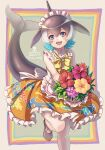 1girl alternate_costume apron bare_legs bare_shoulders black_hair blonde_hair blowhole blue_eyes blue_hair blush bouquet bow bowtie collar commentary_request common_dolphin_(kemono_friends) cowboy_shot dolphin_girl dolphin_tail dorsal_fin dress enmaided eyebrows_visible_through_hair flower frilled_collar frilled_dress frills high_collar highres kemono_friends kemono_friends_3 kosai_takayuki maid multicolored_hair official_alternate_costume open_mouth orange_dress short_hair sleeveless smile solo standing standing_on_one_leg white_apron white_collar white_hair yellow_neckwear