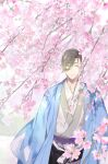 1boy ^_^ black_pants brown_hair brown_kimono cherry_blossoms closed_eyes facing_viewer fate/grand_order fate_(series) hair_between_eyes hakama_pants haori highres japanese_clothes kimono male_focus n_oel pants smile solo yamanami_keisuke_(fate)