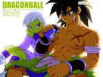 1boy 1girl black_eyes black_hair bracer broly_(dragon_ball_super) character_name cheelai colored_skin commentary_request copyright_name dragon_ball dragon_ball_super dragon_ball_super_broly green_skin iiimirai scar scar_on_chest short_hair sitting tongue tongue_out twitter_username violet_eyes white_hair