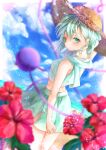 1girl absurdres alternate_costume alternate_headwear aqua_eyes aqua_hair aqua_shirt aqua_skirt beach blue_sky blurry blurry_foreground calpis118 clouds commentary crop_top day dutch_angle flower food from_behind hair_between_eyes hat hibiscus highres horizon komeiji_koishi light_particles looking_at_viewer looking_back mouth_hold ocean outdoors popsicle red_flower shirt short_hair skirt sky sleeveless sleeveless_shirt solo straw_hat sweat third_eye touhou