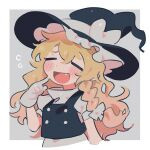 1girl black_headwear black_vest blonde_hair blush_stickers bow braid closed_eyes commentary cropped_torso fang finger_to_cheek gloves grey_background hair_bow hat hat_bow highres kirisame_marisa open_mouth shirt short_sleeves single_braid smile sobamushi_mo solo symbol_commentary touhou turtleneck upper_body vest white_bow white_gloves white_shirt witch_hat