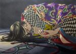 1girl 59awakadoy black_hair blood checkered checkered_clothing checkered_kimono hair_over_eyes highres japanese_clothes kimono long_hair lying on_side original print_kimono purple_nails shadow solo tile_floor tiles traditional_media