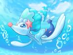 air_bubble blue_eyes bubble closed_mouth clouds commentary_request day from_below full_body gen_7_pokemon highres kico_(iskico) no_humans outstretched_arms pokemon pokemon_(creature) primarina sky smile solo underwater white_eyelashes