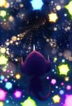 32890_(artist) blurry commentary_request gen_7_pokemon highres lens_flare minior night no_humans outdoors poipole pokemon pokemon_(creature) sky star_(sky) ultra_beast