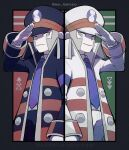 2boys arrow_(symbol) black_border black_coat black_headwear black_pants border brothers brown_coat coat collared_shirt commentary_request emmet_(pokemon) frown genzou_(me_genzo) gloves grey_eyes grey_hair hand_up hat highres ingo_(pokemon) long_sleeves male_focus multiple_boys necktie open_clothes open_coat outside_border pants parted_lips pokemon pokemon_(game) pokemon_bw purple_neckwear shirt short_hair siblings sideburns smile striped_coat twitter_username white_coat white_gloves white_headwear white_pants white_shirt
