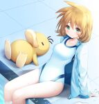 1girl bangs blonde_hair breasts closed_eyes closed_mouth collarbone eyebrows_visible_through_hair feet_out_of_frame gen_1_pokemon green_eyes gym_leader hair_between_eyes jacket long_sleeves looking_at_viewer medium_breasts misty_(pokemon) murano one-piece_swimsuit open_clothes open_jacket pokemon pokemon_(creature) pokemon_(game) pokemon_hgss pool poolside psyduck sleeves_past_wrists smile swimsuit tiles water white_jacket white_swimsuit