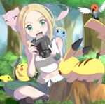 1girl :d absurdres ankle_boots belt blonde_hair blush boots breasts brown_footwear bush camera capri_pants commentary_request eyelashes fletchling gen_1_pokemon gen_2_pokemon gen_3_pokemon gen_6_pokemon grass green_eyes green_pants green_wristband gym_leader highres holding mew mythical_pokemon negimiso1989 open_mouth pants photographer pichu pikachu pokemon pokemon_(creature) pokemon_(game) pokemon_xy shiny shiny_hair shirt sitting sleeveless sleeveless_shirt smile surskit tongue tree tree_stump upper_teeth viola_(pokemon) white_belt white_shirt wristband