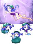 1girl ? backpack bag bangs blue_eyes blue_footwear blue_hair blue_shirt blue_skirt boots chibi eyebrows_visible_through_hair fish flat_cap flying_sweatdrops full_body futa_(nabezoko) green_bag green_headwear hair_bobbles hair_ornament hat highres kawashiro_nitori key light_rays looking_at_viewer medium_hair multiple_views one-piece_swimsuit open_mouth pocket puffy_short_sleeves puffy_sleeves purple_swimsuit shirt short_sleeves skirt swimsuit touhou two_side_up underwater