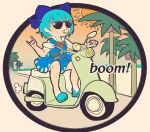 blouse blue_dress blue_eyes blue_footwear blue_hair blue_ribbon bow cirno coconut coconut_tree dress dress_shirt english_text ground_vehicle hair_bow ice ice_wings kaneda_tamago motor_vehicle ocean palm_tree pinafore_dress puffy_short_sleeves puffy_sleeves red_bow red_ribbon ribbon sand scooter shirt shore short_hair short_sleeves sun sunglasses sunset tan tanlines touhou tree vespa white_blouse white_shirt wing_collar wings