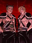 2boys abs bare_pectorals belt black_pants blonde_hair chest_harness cigarette green_hair hair_over_one_eye hands_in_pockets harness horns katana looking_at_viewer male_focus multiple_boys nipples o-ring o-ring_top official_alternate_costume one_piece pants pectorals roronoa_zoro sanji scar scar_across_eye short_hair sideburns smoking sword taro_(honyarara00) toned toned_male weapon