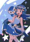 1girl :d bangs bare_arms blue_dress blue_eyes blue_gloves blue_hair blush bow clothes_lift commentary_request crescent crescent_hair_ornament dawn_(pokemon) dress dress_lift eyelashes floating_hair gen_4_pokemon gloves hair_ornament highres hinann_bot knees knees_together_feet_apart lifted_by_self on_shoulder open_mouth piplup pokemon pokemon_(anime) pokemon_(creature) pokemon_on_shoulder pokemon_swsh_(anime) shiny shiny_hair sleeveless sleeveless_dress smile solo sparkle star_(symbol) starter_pokemon tongue upper_teeth