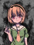 1girl alternate_eye_color black_hairband blonde_hair closed_mouth commentary_request empty_eyes eyes_visible_through_hair green_shirt grey_background hairband hand_up highres higurashi_no_naku_koro_ni holding holding_syringe houjou_satoko looking_at_viewer nauka necktie puffy_short_sleeves puffy_sleeves red_eyes sailor_collar shirt short_hair short_sleeves sketch smile solo spoilers straight-on syringe upper_body white_sailor_collar yellow_neckwear