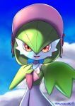absurdres blurry bonnet clouds commentary_request day flower gardevoir gen_3_pokemon hand_up highres open_mouth outstretched_hand pink_headwear pokemon pokemon_(creature) pokemon_unite red_flower sky smile solo tongue watagashikn
