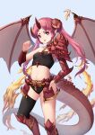1girl absurdres armored_boots black_legwear black_panties boots breasts collarbone detached_sleeves dragon_girl dragon_tail dragon_wings faulds fire floating_hair grey_background hand_on_hip highres horns jj33jj55 knee_boots long_hair looking_at_viewer midriff navel open_mouth original panties pointy_ears red_footwear red_wings redhead simple_background single_thighhigh small_breasts solo standing stomach tail thigh-highs twintails underwear very_long_hair violet_eyes wings