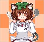 1girl animal_ear_fluff animal_ears animal_print apron bangs bow bowtie brown_eyes brown_hair cat_ears cat_print cat_tail checkered checkered_background chen closed_mouth dress earrings eyebrows_visible_through_hair green_headwear hat holding holding_spatula holding_whip jewelry long_sleeves looking_at_viewer lowres mob_cap multiple_tails nekomata orange_background pixel_art red_dress short_hair single_earring smile solo spatula symbol_commentary tail touhou two_tails unk_kyouso upper_body white_apron white_bow white_neckwear