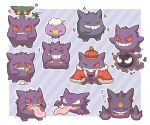 +++ 2027_(submarine2027) alternate_color closed_eyes commentary_request dreepy drifloon food gastly gen_1_pokemon gen_4_pokemon gen_8_pokemon gengar grin haunter holding ice_cream ice_cream_cone leg_up mega_gengar mega_pokemon no_humans open_mouth outline pokemon pokemon_(creature) shiny_pokemon sleeping smile sparkle standing standing_on_one_leg sweatdrop tearing_up teeth tongue tongue_out trembling zzz