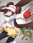 1girl ass black_legwear blue_eyes breasts brown_hair double_bun floating_hair from_behind gen_5_pokemon highres holding holding_poke_ball long_hair outstretched_arms pantyhose parted_lips pointing poke_ball pokemon pokemon_(creature) pokemon_(game) pokemon_battle pokemon_bw raglan_sleeves rosa_(pokemon) shorts snivy twintails ultimateinudog very_long_hair visor_cap yellow_shorts
