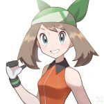 1girl bangs bare_arms blurry blush breasts brown_hair collared_dress commentary_request dress eyelashes gloves green_bandana grey_eyes grin jeri20 looking_at_viewer may_(pokemon) medium_hair orange_dress pokemon pokemon_(game) pokemon_emerald pokemon_rse shiny shiny_hair simple_background sleeveless smile solo teeth upper_body white_background white_gloves