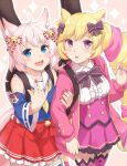 2girls \n/ ahoge animal_ears bell blonde_hair blue_eyes bow cat_ears cat_girl cat_tail detached_sleeves drill_hair fox_ears fox_girl fox_tail hair_bow highres howan_(show_by_rock!!) jingle_bell light_blush locked_arms long_hair looking_at_viewer machikado mashima_himeko_(show_by_rock!!) multicolored_hair multiple_girls nail_polish open_mouth pink_background pink_hair short_hair show_by_rock!! simple_background skirt smile sparkle_background tail thigh-highs twintails upper_teeth very_long_hair violet_eyes white_hair yuri