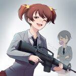 absurdres alisa_(girls_und_panzer) artist_name assault_rifle bangs black_neckwear blazer brown_eyes brown_hair chewing_gum commentary crossed_arms dated dress_shirt freckles girls_und_panzer grey_jacket gun hair_ornament highres holding holding_gun holding_weapon jacket long_sleeves looking_at_another looking_at_viewer m16a1 miniskirt mixed-language_commentary naomi_(girls_und_panzer) necktie nico_jiang one_eye_closed open_mouth pleated_skirt red_skirt rifle saunders_school_uniform school_uniform shirt short_hair short_twintails signature skirt smile standing star_(symbol) star_hair_ornament twintails very_short_hair weapon white_shirt wing_collar