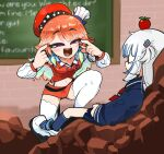 2girls apple blue_shirt chalkboard food fruit gawr_gura highres hololive hololive_english looking_at_another multiple_girls open_mouth orange_hair red_skirt red_vest shirt skirt smug squinting takanashi_kiara thigh-highs think_mark_think!_(meme) tkddud632 vest white_footwear white_hair white_legwear