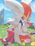 bright_pupils cinderace clouds commentary_request day evolutionary_line flower gen_8_pokemon grass izobe looking_at_viewer looking_back open_mouth outdoors petals pink_flower pokemon pokemon_(creature) raboot red_eyes scorbunny signature sitting sky toes tongue upper_teeth white_pupils yellow_flower