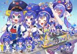 6+girls ^_^ absurdres ahoge animal_hood anniversary aqua_eyes asteroid_stella asymmetrical_legwear band_uniform baton_(instrument) black_gloves blue_eyes blue_hair blue_headwear blue_shirt blush_stickers braid character_print clock closed_eyes collar collared_shirt commentary confetti conga_line digital_clock double_bun eel_hat elbow_gloves fang fishnet_legwear fishnets flower frog_hood gloves gradient_hair ground_vehicle hair_flower hair_ornament hand_on_hip hands_on_another's_shoulders highres hood large_hat long_hair looking_at_viewer minigirl mismatched_legwear mittens multicolored_hair multiple_girls multiple_persona open_mouth otomachi_una outstretched_arms paper_chain piano_print purple_hair purple_headwear purple_legwear raincoat sailor_collar school_uniform shirt short_sleeves skin_fang sleeveless sleeveless_shirt smile solid_oval_eyes song_request speech_bubble spoken_number talkex train twin_braids uniform very_long_hair vocaloid voiceroid white_collar white_gloves white_mittens
