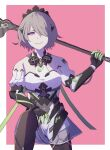 1girl bangs bare_shoulders black_gloves border brown_hair elbow_gloves evil_grin evil_smile gas_mask gloves grin hair_over_one_eye hand_on_own_knee highres holding holding_weapon honkai_(series) honkai_impact_3rd looking_at_viewer maid_headdress pink_background rita_rossweisse rita_rossweisse_(phantom_iron) scythe short_hair smile solo v-shaped_eyebrows violet_eyes weapon yang_zheng_yu