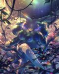 8686island arm_support berry blurry bright_pupils calyrex closed_mouth commentary_request crossed_legs day gen_8_pokemon hand_up legendary_pokemon looking_at_viewer outdoors plant pokemon pokemon_(creature) sitting solo tree_branch vines violet_eyes white_pupils