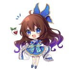 1girl bangs blue_bow blue_dress blue_eyes blue_footwear blush bow brown_hair bug butterfly butterfly_hair_ornament butterfly_wings chibi detached_sleeves dress eyebrows_visible_through_hair food frills fruit full_body hair_between_eyes hair_ornament hand_up insect kyouda_suzuka long_sleeves looking_at_viewer microphone open_mouth original shoes simple_background smile socks solo standing strawberry white_background white_legwear white_sleeves wide_sleeves wings