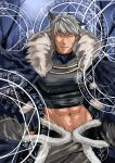 1boy absurdres animal_ears bangs black_gloves black_shirt blue_cape brown_eyes cape cat_ears commentary_request covered_nipples cowboy_shot crop_top fingerless_gloves fur-trimmed_cape fur_cape fur_trim gloves grey_hair grey_pants highres large_pectorals looking_at_viewer magic_circle muscular muscular_male official_alternate_costume pants parted_lips pectorals pupuddddy ragnarok_online shadow_chaser_(ragnarok_online) shirt short_hair solo waist_cape
