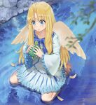 1girl angel_wings animal bangs barefoot blonde_hair blue_dress blue_eyes blurry blurry_foreground closed_mouth collarbone dress eyebrows_visible_through_hair feathered_wings feathers firo_(tate_no_yuusha_no_nariagari) frilled_sleeves frills from_above from_below full_body hair_between_eyes hair_intakes holding holding_animal long_hair long_sleeves shiny shiny_hair short_dress sitting smile soles solo switchel tate_no_yuusha_no_nariagari turtle very_long_hair wariza water white_wings wings