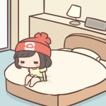 1girl bangs barefoot beanie bed blush_stickers cafe_(chuu_no_ouchi) chibi commentary_request green_shorts hat indoors lamp lowres medium_hair on_bed pillow pokemon pokemon_(game) pokemon_sm red_headwear selene_(pokemon) shirt short_sleeves shorts solo t-shirt tied_shirt yellow_shirt