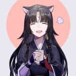 1girl absurdres animal_ears arknights bangs black_hair black_kimono blunt_bangs closed_eyes cup dog_ears dog_girl highres infection_monitor_(arknights) japanese_clothes kimono long_hair miike_(992058) open_mouth parted_bangs saga_(arknights) solo steam yunomi