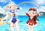 2girls ;d absurdres ahoge backpack bag bag_charm bangs barbara_(genshin_impact) barbara_(summertime_sparkle)_(genshin_impact) beach blonde_hair bloomers blue_eyes blue_sky blue_swimsuit blurry blush brown_scarf cabbie_hat charm_(object) choker clouds cloudy_sky clover_print coat collarbone commentary_request depth_of_field detached_sleeves dodoco_(genshin_impact) drill_hair eyebrows_visible_through_hair genshin_impact hair_between_eyes handbag hat hat_feather hat_ornament highres horizon klee_(genshin_impact) light_brown_hair long_hair long_sleeves looking_at_viewer multiple_girls ocean one_eye_closed open_mouth orange_eyes outstretched_arms pocket rainbow randoseru red_coat red_headwear sailor_collar scarf sidelocks sky smile spread_arms swimsuit translation_request twin_drills twintails underwear w_verne water_drop