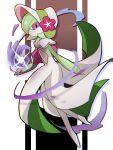 bonnet capelet colored_skin commentary_request energy flower from_side full_body gardevoir gen_3_pokemon green_hair highres parted_lips pokemon pokemon_(creature) pokemon_unite purple_flower tintira_ta violet_eyes white_skin