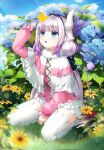 1girl :o bangs black_hairband blue_eyes blue_sky blunt_bangs bug butterfly clouds commentary_request day dragon_girl dragon_horns eyebrows_visible_through_hair flower grass hairband highres horns insect kanna_kamui kobayashi-san_chi_no_maidragon long_hair long_sleeves looking_at_animal looking_up low_twintails pink_hait sitting sky solo tail thigh-highs thighs ttorong twintails wariza white_legwear