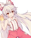 1girl bangs bow buttons collared_shirt cycloneyukari fire fujiwara_no_mokou grin hair_bow index_finger_raised long_hair looking_at_viewer multicolored_bow pants pyrokinesis red_bow red_eyes red_pants shirt simple_background smile solo suspenders torn_clothes torn_sleeves touhou v-shaped_eyebrows very_long_hair white_background white_bow white_hair white_shirt