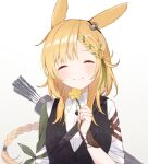 1girl ^_^ animal_ears arknights arrow_(projectile) bangs black_skirt black_vest blonde_hair braid closed_eyes closed_mouth collared_shirt commentary cowboy_shot facing_viewer flower green_hair highres holding holding_flower kroos_(arknights) long_hair multicolored_hair nano_mochi official_alternate_costume quiver rabbit_ears shirt short_sleeves single_braid skirt smile solo two-tone_hair very_long_hair vest white_background white_shirt yellow_flower