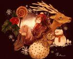 1girl boots brown_background brown_footwear brown_hair candy ckr4.8_(shiren) dated food full_body gift holly knees_up lollipop long_hair mittens original red_headwear red_neckwear reindeer sitting snowflakes snowman very_long_hair