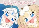 2girls absurdres animal_hood blonde_hair blue_eyes blue_hair blue_hoodie blush commentary_request english_text flippers gawr_gura gloves grey_background hair_ornament hands_up highres hololive hololive_english hood hood_up hoodie huge_filesize lion_hood looking_at_viewer monocle_hair_ornament multicolored_hair multiple_girls neru_(flareuptf1) open_mouth paw_gloves paws shark_hood sharp_teeth silver_hair simple_background streaked_hair teeth tongue upper_body upper_teeth watson_amelia yellow_hoodie