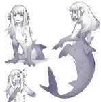 1girl absurdres back closed_eyes fish_tail flat_chest food_in_mouth gawr_gura hand_on_own_chest highres hololive hololive_english looking_at_viewer mermaid monochrome monster_girl monsterification music musical_note night-old open_mouth scar_on_arm scar_on_back shark_tail short_twintails shrimp singing tail twintails white_background