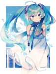 1girl adjusting_hair antenna_hair aqua_hair aqua_neckwear arm_up bangs black_sleeves blue_sky border breasts clouds commentary_request detached_sleeves dress dress_tug edward-el eyebrows_visible_through_hair hatsune_miku highres light_smile long_hair looking_at_viewer medium_breasts necktie number_tattoo ocean outdoors railing shoulder_tattoo sky solo sundress tattoo twintails vocaloid white_dress