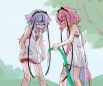 2others blue_hair braid closed_eyes collared_shirt commentary dripping feet_out_of_frame gradient_hair gynoid_talk hair_flaps hakama_pants headband holding_hose horns hose ishitsuki_(_0101_831) long_hair meika_hime meika_mikoto multicolored_hair multiple_others open_mouth outdoors pink_hair red_shorts sailor_collar shirt shorts sketch sleeveless sleeveless_shirt smile standing thick_eyebrows tree very_long_hair vocaloid water white_shirt
