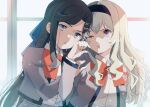 2girls :t annoyed bangs black_hairband blonde_hair blue_bow bow bowtie brown_hair collared_shirt commentary_request frown grey_jacket hair_bow hair_ornament hairband hand_on_another's_shoulder head_to_head jacket light_particles long_hair long_sleeves looking_at_another multiple_girls nijiko_(c2cs4q) one_eye_closed pink_eyes red_neckwear saijou_claudine school_uniform seishou_music_academy_uniform shirt shirt_tucked_in shoujo_kageki_revue_starlight tendou_maya upper_body violet_eyes white_shirt x_hair_ornament yuri